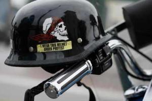 helmet under protest