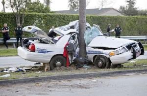 wrecked cop car