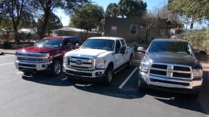 big trucks lined up pic