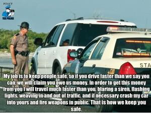 speeding to keep us safe